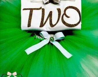 Green And Gold Birthday Tutu Sets,Turning 2 Tutu Sets,Turning 2 Tutu Outfits,2nd Birthday Tutu Set,Green/Gold 2nd Birthday Tutu Sets