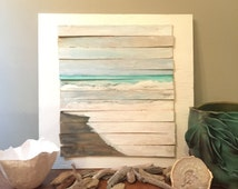 Reclaimed Wood Fine Art Oceanscape, Waves on Shore, Awakeyoursoul, Acrylic painting, Wood art, barnwood, repurposed wood, coastal decor