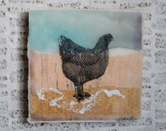Folksy, Urban Farm, Backyard Chicken Art: Hen Encaustic