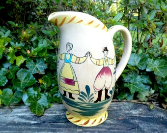Vintage Pitcher, Pottery Stoneware Pitcher, Hand Painted, Dutch Design, Country Farmhouse Cottage Kitchen