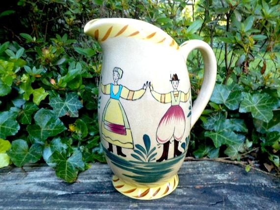 Vintage Pitcher, Pottery Stoneware Pitcher, Hand Painted, Dutch Design, Country Farmhouse Cottage Kitchen