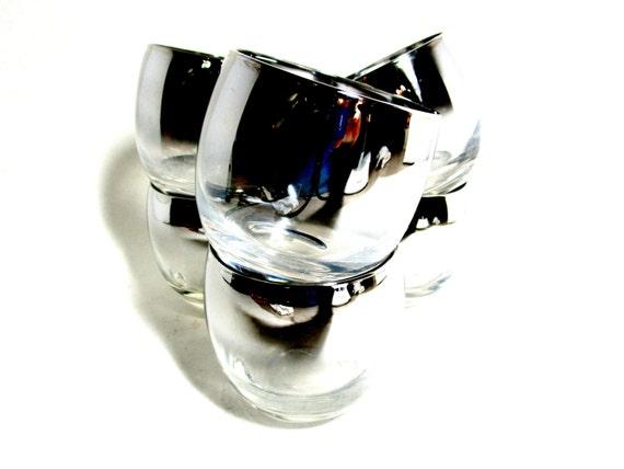 Barware Set of 6 Silver Ombre Silver Fade Roly Poly Lowballs  Bar Glasses, Retro Mad Men Mid Century Barware