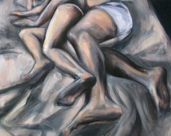 Canvas mounted fine art print - from original painting of sleeping lovers by Meredith O'Neal