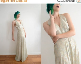 SALE 70s Lurex Evening Gown 1930s Style Empire Waist Gown - DAMAGED Sold AS Is Formal Full Length Gown Dress Costume Theater Halloween // Sm