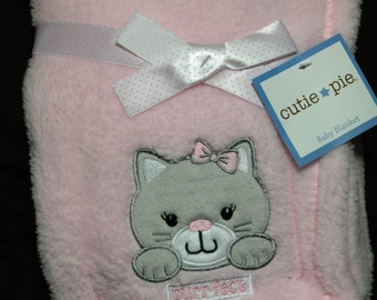 Super Plush Baby Blanket with Custom Embroidery Name/Birthdate & Applique Kitten design