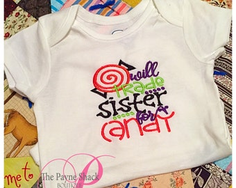 Take Home Outfit, Baby Girl or Boy Onesie, Will Trade Sister for Candy Bodysuit, Halloween, Newborn Baby Clothes, Embroidery
