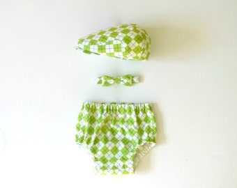 Lime green argyle baby hat, bow tie, and diaper cover set, boy baby photo prop outfit set,baby spring outfit, Easter outfit -  made to order