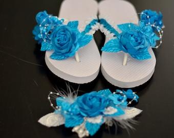 Blue Bridal Flip Flops Wedding Flip Flops Blue Flip Ribbon Pearl Bridsmaid  Flip Flops