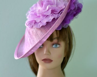 Straw Lilac Purple Head Piece Kentucky Derby Hat Headband Lilac Bridal Coctail Hat Couture Fascinator