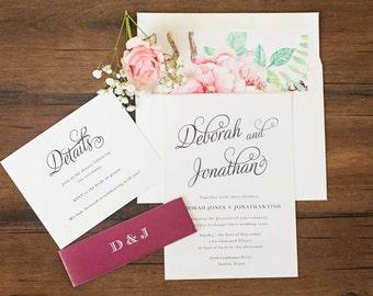 "Burgandy Boho Wedding Invitations \\ ""Beautiful Script"" Collection \\ Sample"