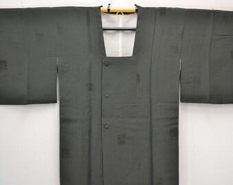 I97 Vintage Japanese Silk Haori Jacket - Grey Green Treasure Box Cloud
