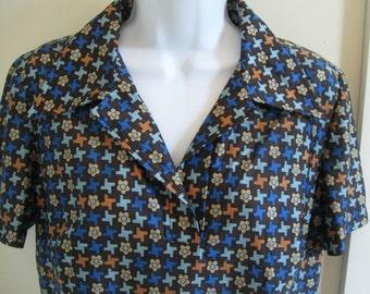 NOS 1970s vintage De Luxe Qiana brown/blue retro-tech print top, size L
