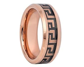 Unique Men's Tungsten Wedding Band,Tungsten Wedding Ring,Rose Gold Tungsten Band,Black Tungsten Ring,18k Rose Gold,12mm,8mm,6mm,Anniversary