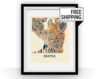Seattle Map Print - Full Color Map Poster