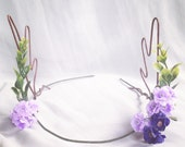 Woodland Blue and Lilac Flower & Pansy Deer Antlers Hair Wreath Festival Crown Head Band Dress up Deer