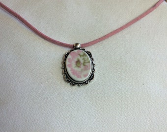 Pink Lady -  Broken China Necklace