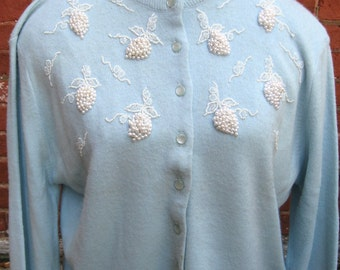 Vintage 1950's Beaded Light Blue Cardigan Sweater