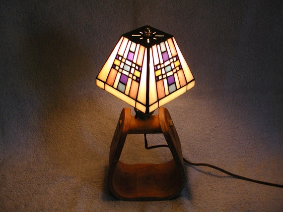 Glass Lamp Bases South Africa: Stained Glass Lamp With Western Stirrup Base