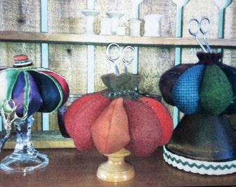 Pumpkin Pincushions from Attic Heirlooms Pin Cushion Trio Sewing Pattern Pincushion