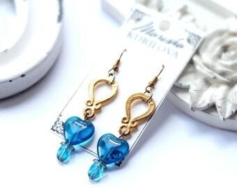 Heart earrings / Gold furniture / trendy style