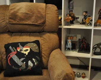Recycled T-shirt Pillow - 16x16 pirate ninja pillow with removable cover