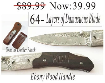 Personalized Rescue Knife Custom Engraved Wood Hunting Knife -Damascus Knife Free shipping for USA buyer