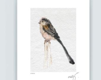 Long Tail Tit song bird art, ember, lovers bird *PREORDER