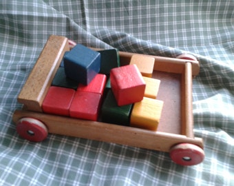 Vintage Toy Pullalong Wooden Truck with Bricks