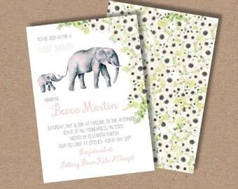 Baby Shower Invitation //elephant//zoo animals