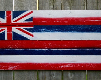 Hawaiian Flag Painting on Reclaimed Wood