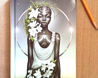 Journal, Diary, Hardcover Notebook, Virgo, Zodiac, African American Art, Black Woman, Goddess, Afrofutrism, Natural Hair, Fantasy