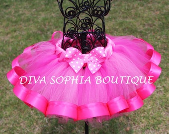 Hot Pink Ribbon Tutu with Polka dot Bow