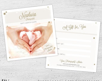 Photography Gift Card Template, Newborn Photography, Gift Certificate Template, Photoshop, Photography Gift Certificate - 01-005-GC-V1