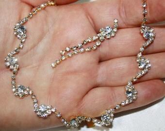 Rhinestone Choker Necklace Earring Set Bridal Austrian Crystal Pageant Prom