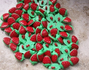 10 Red Strawberry buttons plastic 15 x 11 mm
