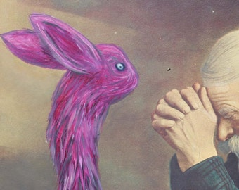 Altered Thrift Store Painting - ORIGINAL - Pray To The Pink Bunny!
