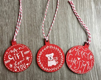 Lucky Dip - Christmas Handmade Wooden Present Tags - Mixed Design & Shape -