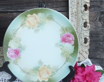 Vintage R S GERMANY Rose Covered Plate / Vintage Chic Serving Plate, Pink and Green, Germany