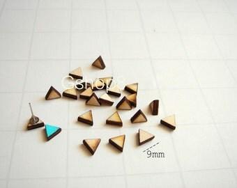 Laser Cut Wood Triangles  9mm, 20 Wood Geometric Tiles for Stud Earrings, Unfinished Wood geometric Tiles for earrings