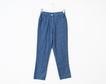 on sale - high waist blue straight jeans / dark wash cropped chambray pants / size 25