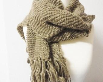 Scarf beige brown handmade handknitted Winter Autumn XL