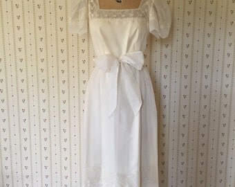 vintage 1970s ivory white tulle and lace dress / vintage bow belt dress