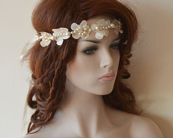 Ivory Bridal Lace Headband,  Pearl Wreaths Tiaras , Lace Bridal Headband, Bridal Hair Accessory, Wedding Hair Accessories