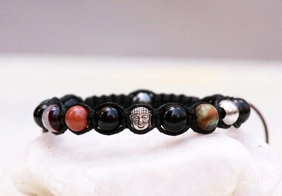 LIMITED EDITION BUDDHA Beaded Bracelet Womens Gemstone Shamballa Bracelet, Natural Stones Bracelet, Namaste Yoga Bracelet, Summer Jewelry