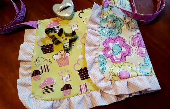 Cupcake Toddler  Reversible Apron with  Ruffle