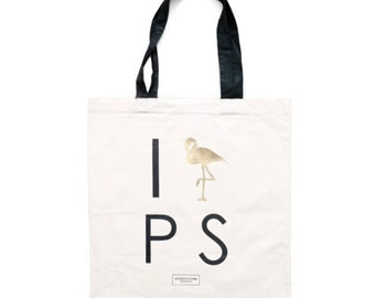Palm Springs Bachelorette and Party Totes, canvas cotton tote with Gold Flamingo