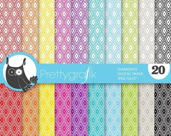 80% OFF SALE diamond harlequin digital paper, commercial use, scrapbook papers, background - PS636