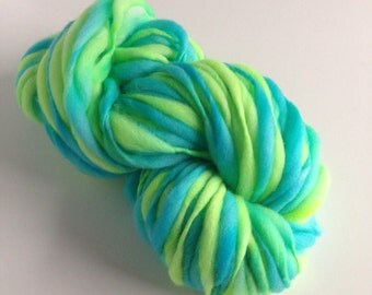 Handspun Merino Thick and Thin Yarn - 50 yards - Aquatic
