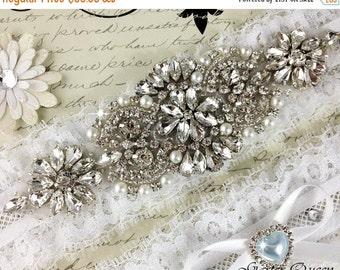 20% OFF Lace Wedding Garter, Bridal Garter, White Garter, Something Blue, Wedding Garter Set, Bridal Garter Set