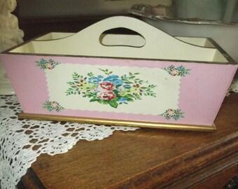 SALE Vintage Trug Pink Floral